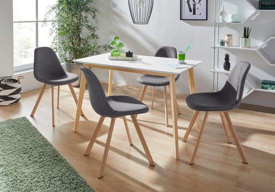 INOSIGN Essgruppe »Veneto«, (5-tlg), aus massivem Kiefernholz, bestehend aus Cody Esstisch 120 cm und 4er Set Veneto Stühle