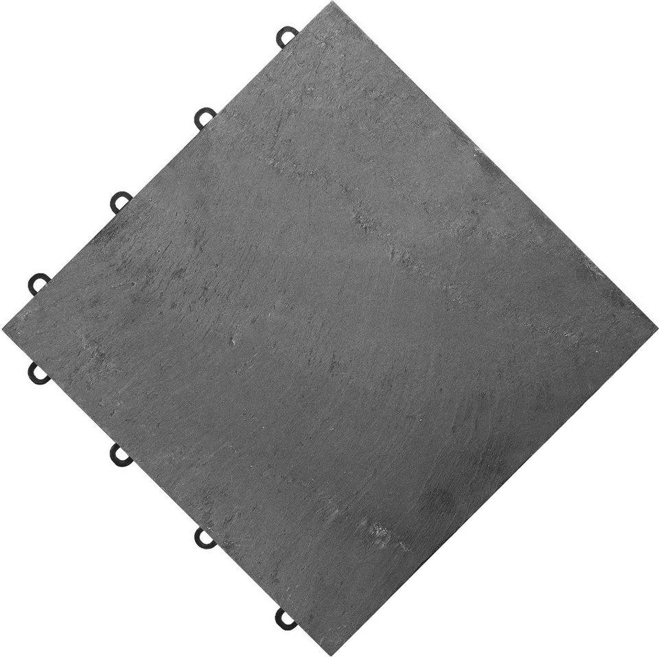FLORCO Klick Fliesen stone 4 Stück á 30x30 cm Schiefer