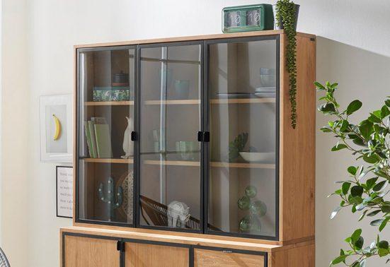 INOSIGN Glasvitrine »Malu« aus massivem Kiefernholz, mit schönen Glastürfronten, Breite 87 cm