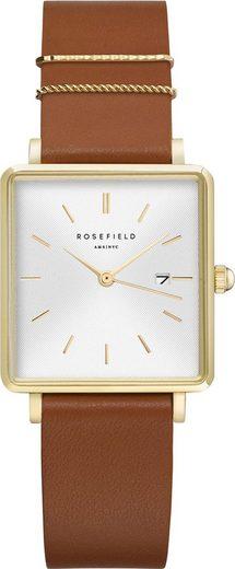 ROSEFIELD Quarzuhr »The Boxy White Sunray Cognac Gold, QSCG-Q029«