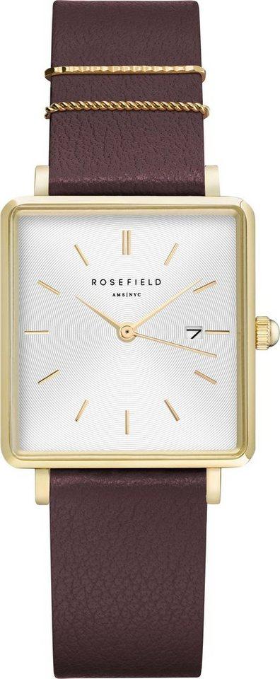 Damen ROSEFIELD Quarzuhr »The Boxy White Sunray Aubergine Gold, QSAG-Q030«  | 08720039333963