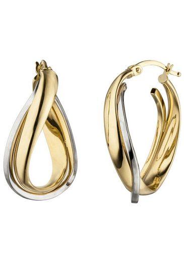 JOBO Paar Creolen, 585 Gold bicolor