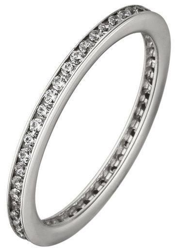 JOBO Fingerring, 925 Silber mit Zirkonia rundum