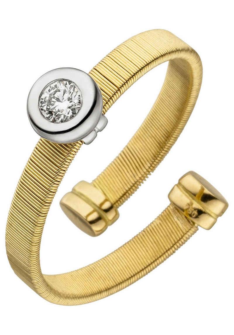 JOBO Fingerring, offen 750 Gold bicolor mit Diamant