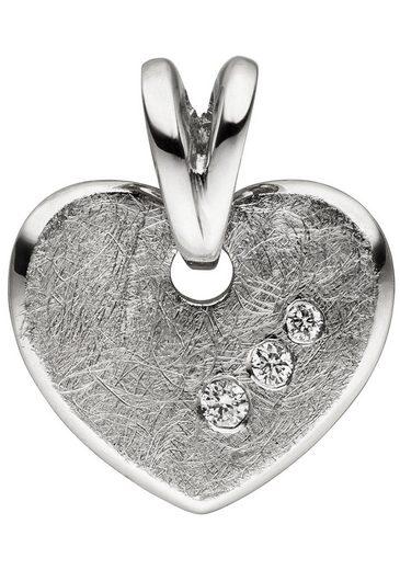JOBO Kettenanhänger »Herz«, 585 Weißgold eismatt mit 3 Diamanten