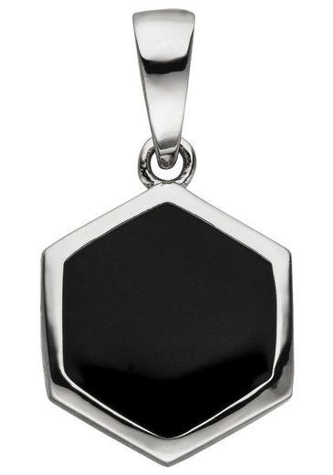 JOBO Kettenanhänger »Sechseck«, 925 Silber schwarz lackiert