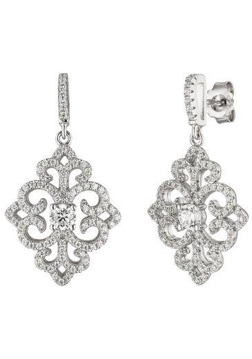 JOBO Paar Ohrhänger, 925 Silber mit 178 Zirkonia