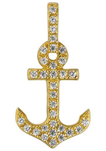 JOBO Kettenanhänger »Anker« 925 Silber vergoldet mit Zirkonia