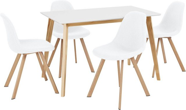 Essgruppen - INOSIGN Essgruppe »Veneto«, (5 tlg), aus massivem Kiefernholz, bestehend aus Cody Esstisch 120 cm und 4er Set Veneto Stühle  - Onlineshop OTTO