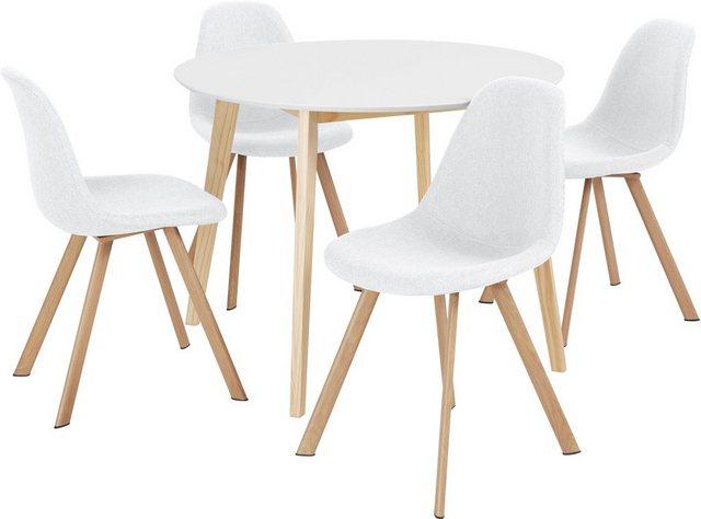 Essgruppen - INOSIGN Essgruppe »Veneto«, (5 tlg), aus massivem Kiefernholz, bestehend aus Cody Esstisch 105 cm und 4er Set Veneto Stühle  - Onlineshop OTTO