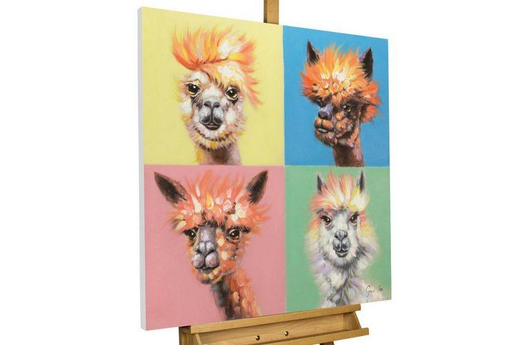 KUNSTLOFT Kunstdruck »Alpacapella Band«, handbemaltes Wandbild auf Leinwand