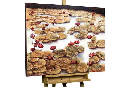 KUNSTLOFT Gemälde »Heimat der Seerosen«, handgemaltes Bild auf Leinwand