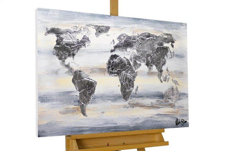 KUNSTLOFT Gemälde »Globe Glamour«, handgemaltes Bild auf Leinwand