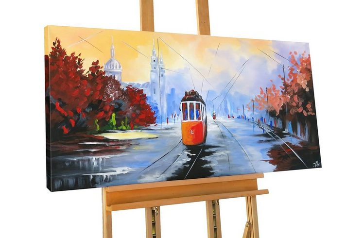 KUNSTLOFT Gemälde »Tram 13«, handgemaltes Bild auf Leinwand