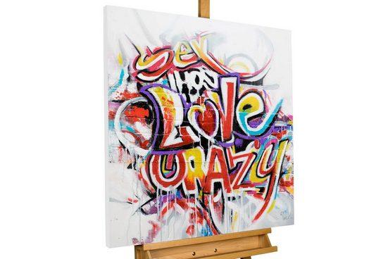 KUNSTLOFT Gemälde »Graffiti Love«, handgemaltes Bild auf Leinwand