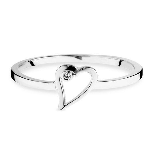 CAÏ Ring »925/- Sterling Silber rhodiniert Zirkonia Herz«