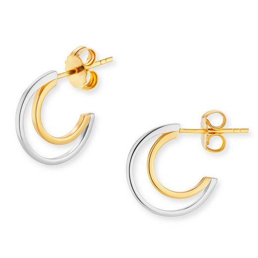 CAÏ Creolen »925/-Sterling Silber bicolor vergoldet«