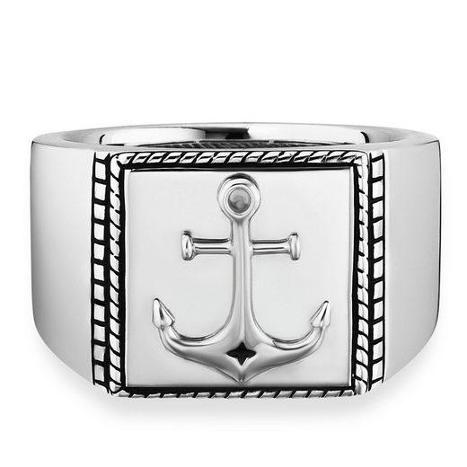 CAÏ Fingerring »925/- Sterling Silber rhodiniert Anker«, Ring