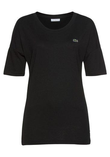 lacoste t shirt mit gummiertem logo streifen druck auf dem. Black Bedroom Furniture Sets. Home Design Ideas