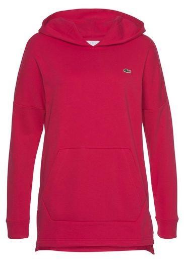 Lacoste Sweatshirt mit kleinen Seitenschlitzen und Kängurutasche