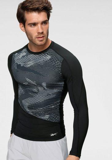 Reebok Langarmshirt »TS LS COMP Tee AOP« Rücken komplett aus Mesh