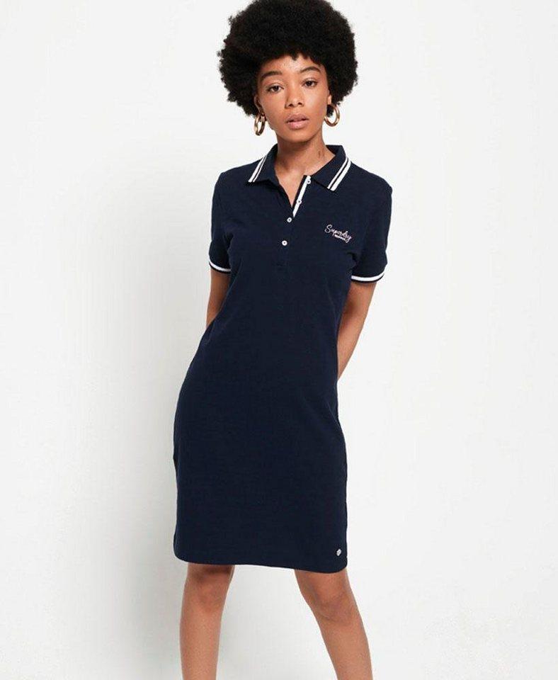 Superdry Shirtkleid »POLO DRESS« mit kleiner Logostrickerei | Bekleidung > Kleider > Shirtkleider | Blau | Superdry