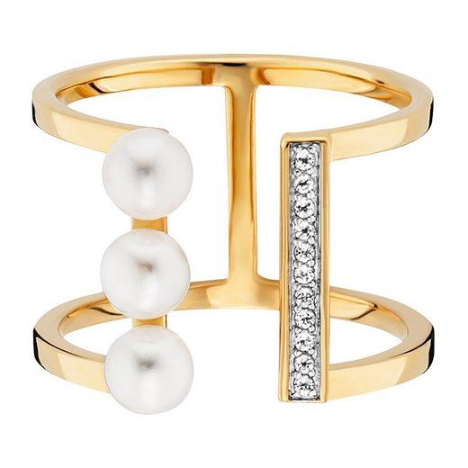 CAÏ Ring »925/- Sterling Silber vergoldet Perlen Topas«
