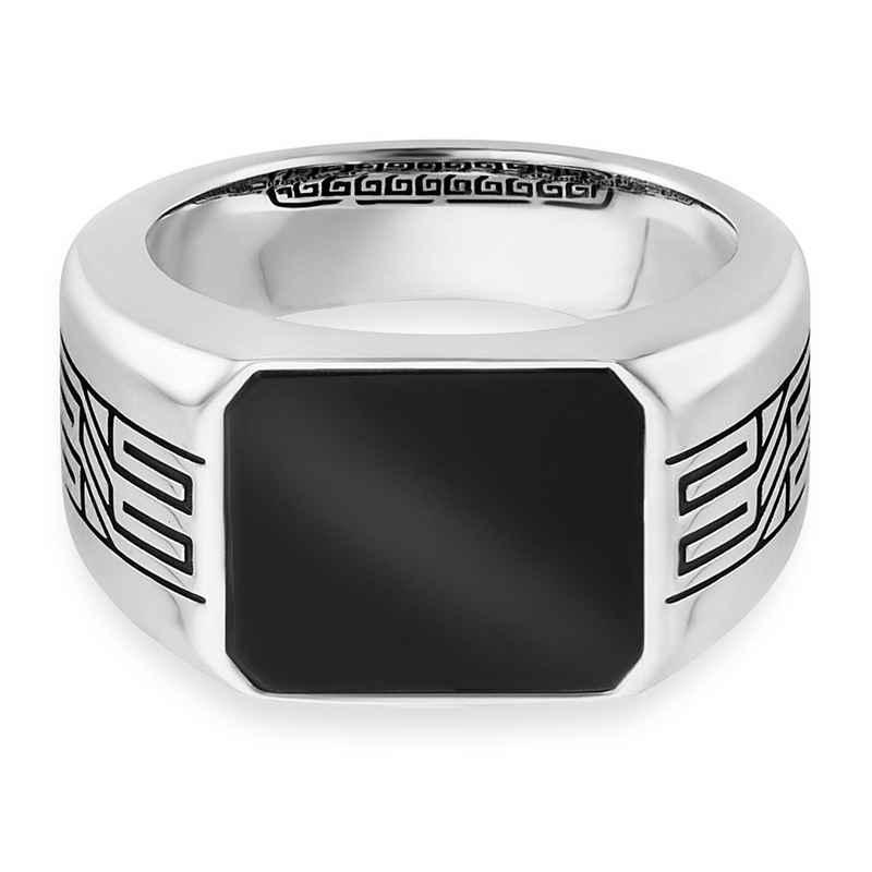 CAÏ Ring »925/- Sterling Silber rhodiniert oxidiert Onyx«
