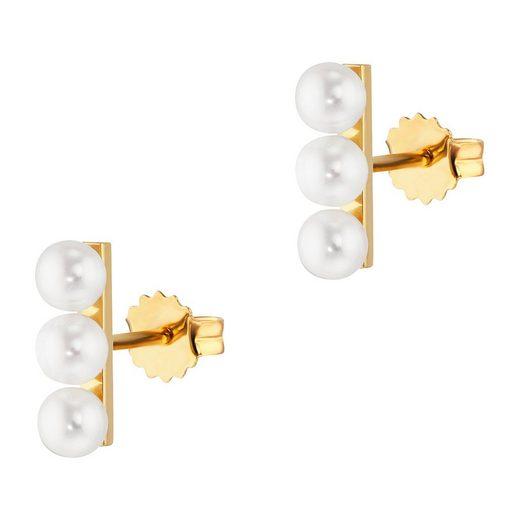 CAÏ Ohrstecker »925/-Sterling Silber vergoldet Perlen«