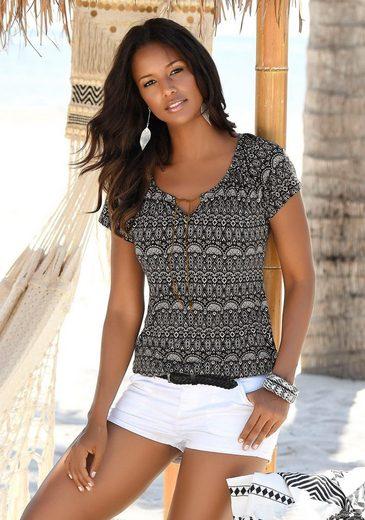 LASCANA T-Shirt (2er-Pack) mit Bändern in Lederoptik