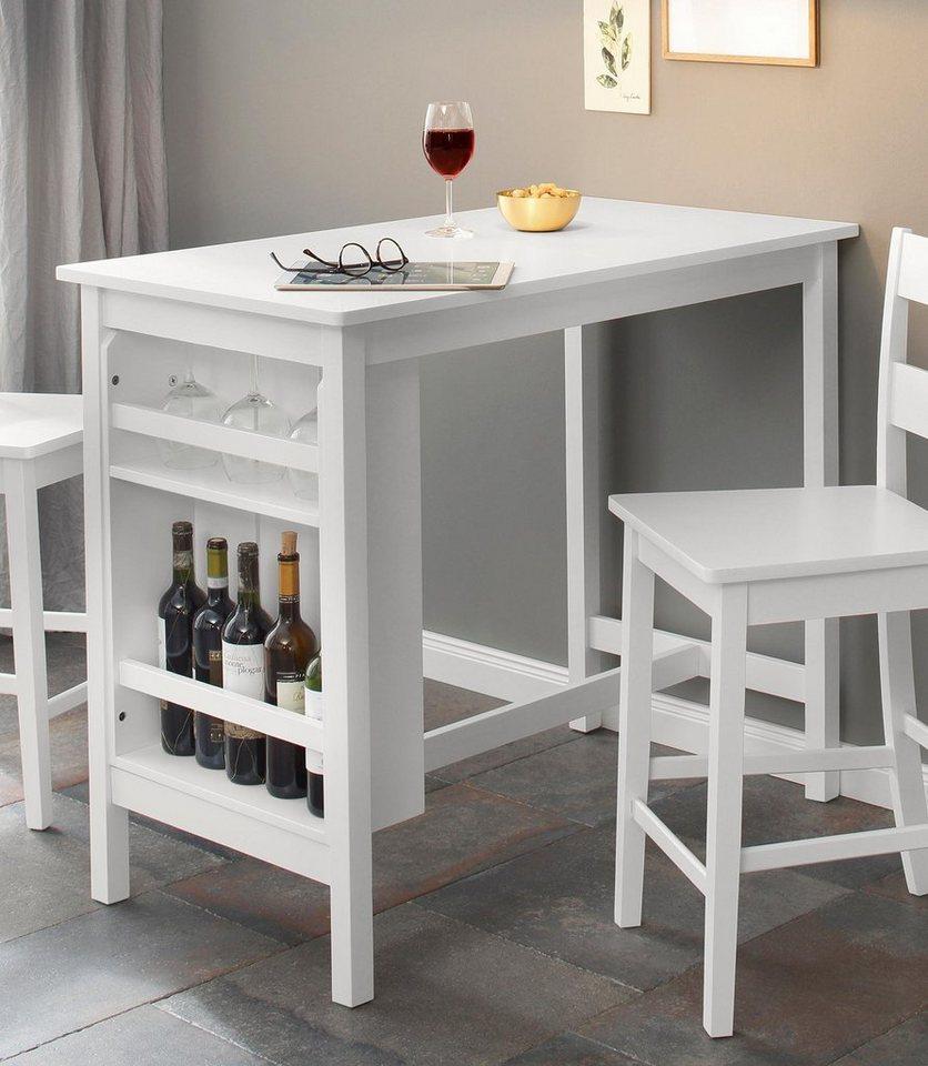 Barmöbel - Home affaire Bartisch »Torpedo«, mit Flaschenregale am Ende des Tisches, aus massivem Kiefernholz  - Onlineshop OTTO