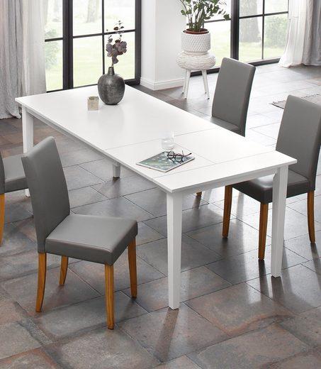 Home affaire Esstisch »Baumont«, aus massivem Kiefernholz, weiß lackiert, inklusive einer Ansteckplatte