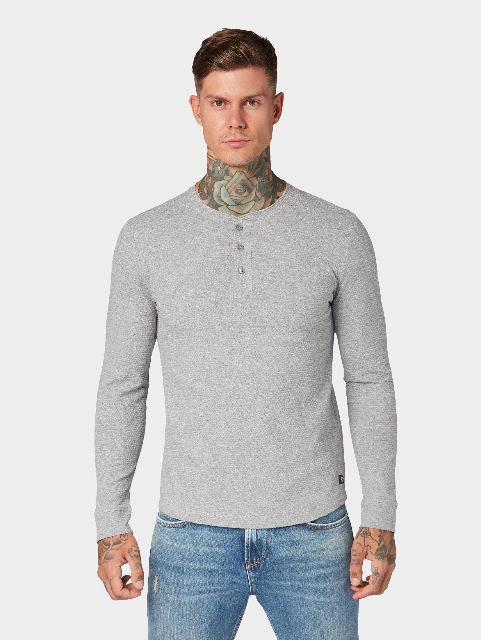 Herren TOM TAILOR Denim Langarmshirt »Henley-Shirt« blau, grau, grün | 04062362012950