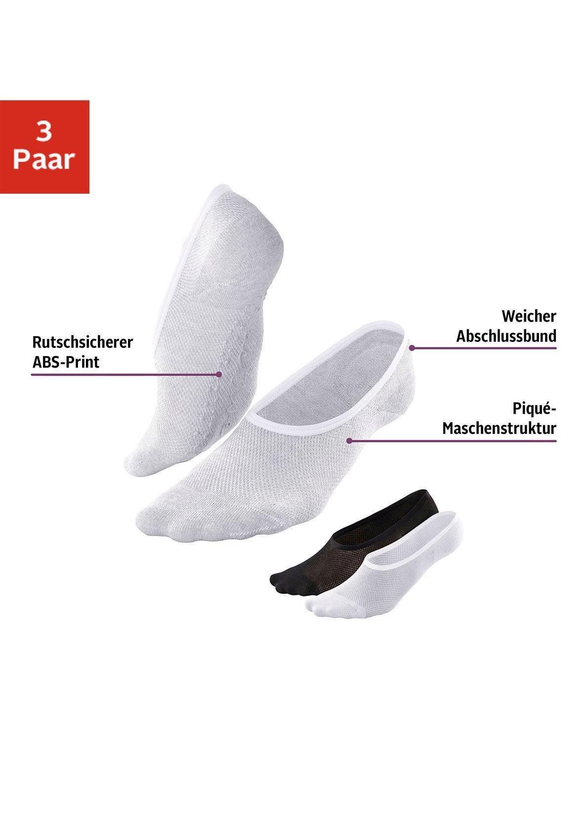 im 3er Pack Sneakers-Kurzsocken uni mit Lycra
