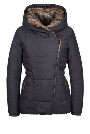 alife and kickin Steppjacke »FRIEDA« warm wattierte Winterjacke mit Fellimitat an Kapuze