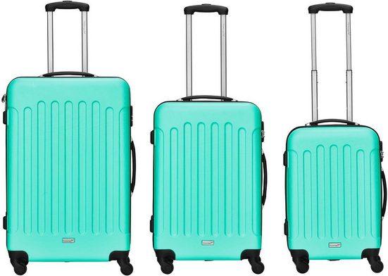 Packenger Trolleyset »Travelstar, Türkis«, 4 Rollen, (3 tlg)