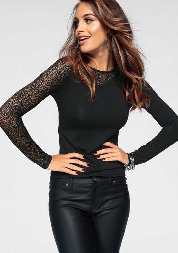 Melrose Rundhalsshirt im asymmetrischem Look und Spitzen-Ärmel