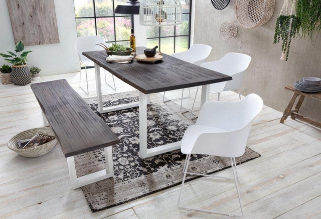 Tische - Home affaire Esstisch »Maryland«, aus massiver Akazie und weißem Metallgestell  - Onlineshop OTTO