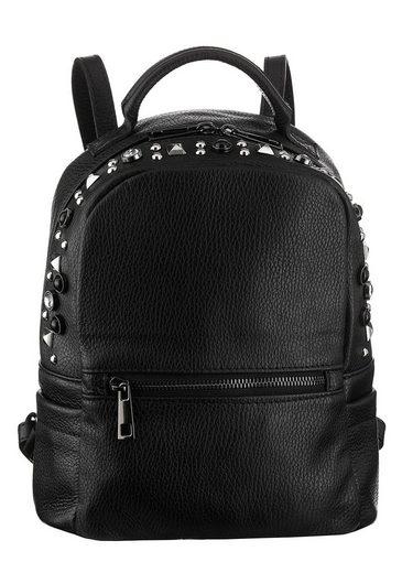 TOSCA BLU Minirucksack, aus Leder, mit modischen Nieten besetzt