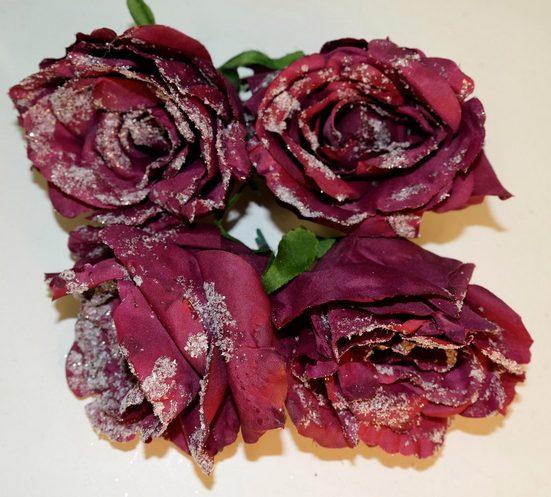 Weihnachtsbaumklammer »Rose« (4-tlg), gefrostet