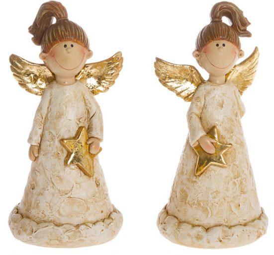 Engelfigur (Set, 2 Stück), goldfarben dekoriert