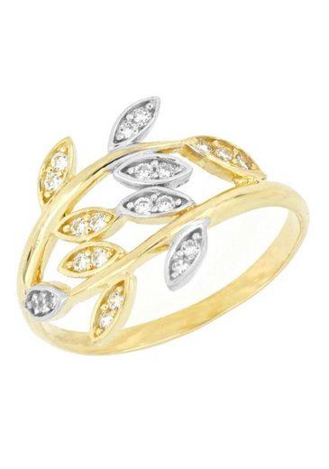 Firetti Goldring »Blätterranken im Croisee-Design, glänzend, rhodiniert«, mit Zirkonia