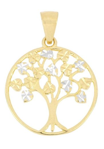 Firetti Kettenanhänger »Baum des Lebens, glänzend, diamantiert, mit sterndiamantierten Blättern, rhodiniert«