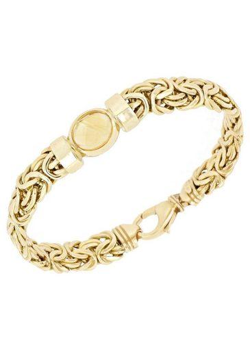 Firetti Goldarmband »Königskettengliederung, glänzend, flach, beidseitig bombiert, facettiert in der Mitte«, mit Citrin
