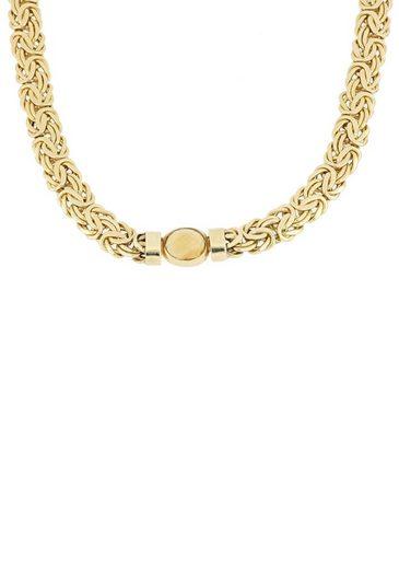 Firetti Goldkette »Königskettengliederung, glänzend, flach, beidseitig bombiert, facettiert in der Mitte«, mit Citrin