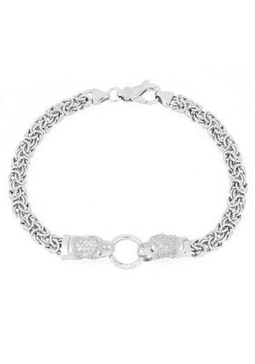 Firetti Silberarmband »Königskettenarmband mit zwei »Pantherköpfen« mit Punktstruktur, glänzend, rhodiniert, einseitig bombiert«, mit Zirkonia