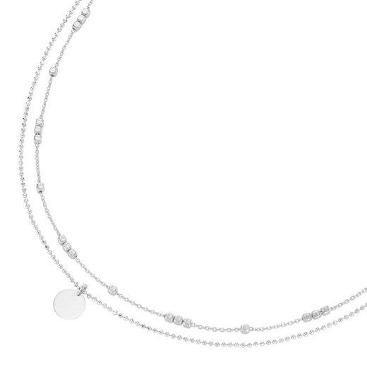 Smart Jewel Halsband »Choker 2-reihig mit Plättchen, Silber 925«