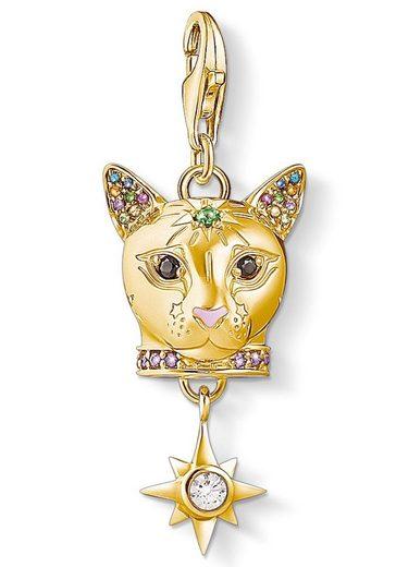 THOMAS SABO Charm-Einhänger »Katze gold, 1819-471-7«, mit Emaille, synth. Korund, Glassteinen und Zirkonia