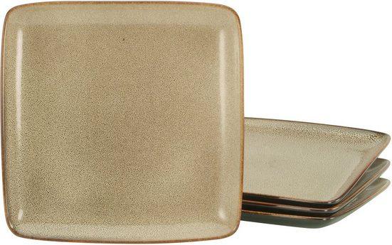 CreaTable Speiseteller »Retro Style«, (4 Stück), Steinzeug, quadratische Form