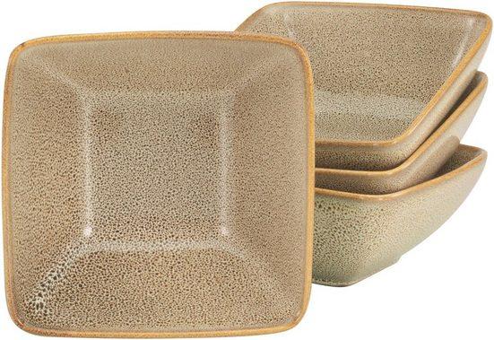 CreaTable Müslischüssel »Retro Style«, Steinzeug, (Set, 4-tlg), quadratische Form